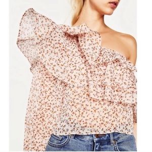 One Shoulder Chiffon Floral Zara Top